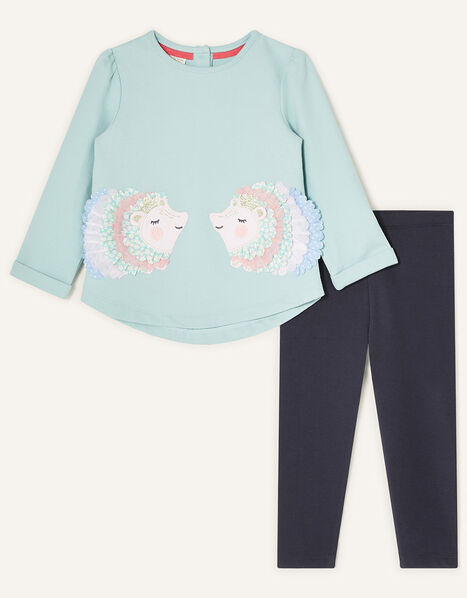 Baby Hedgehog Sweat Top and Leggings Blue, Blue (AQUA), large