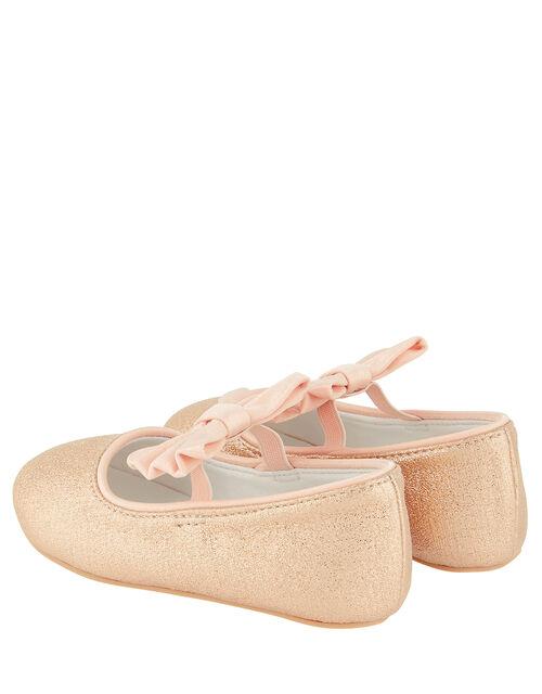 Baby Samira Gold Bow Walker Shoes, Gold (GOLD), large