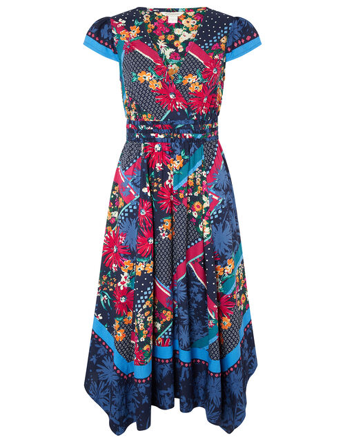Grace Contrast Floral Print Dress in LENZING™ ECOVERO™, Blue (NAVY), large