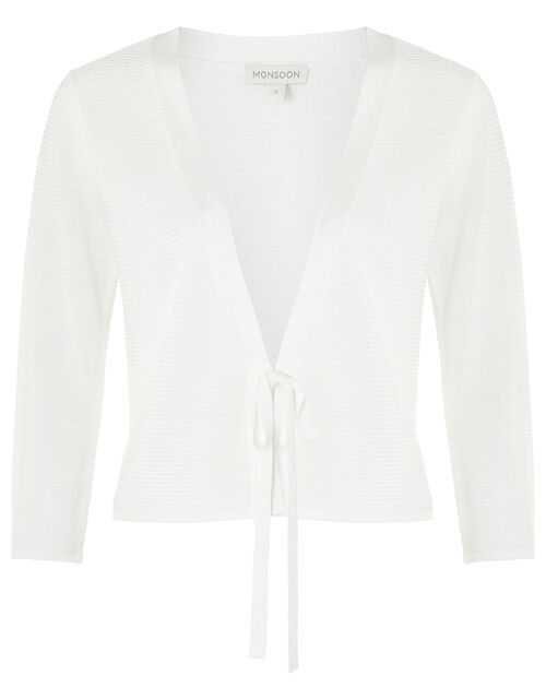 Octavia Ottoman Tie Cardigan, White (WHITE), large