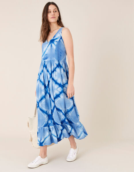 Zaria Tie Dye Maxi Dress Blue, Blue (BLUE), large