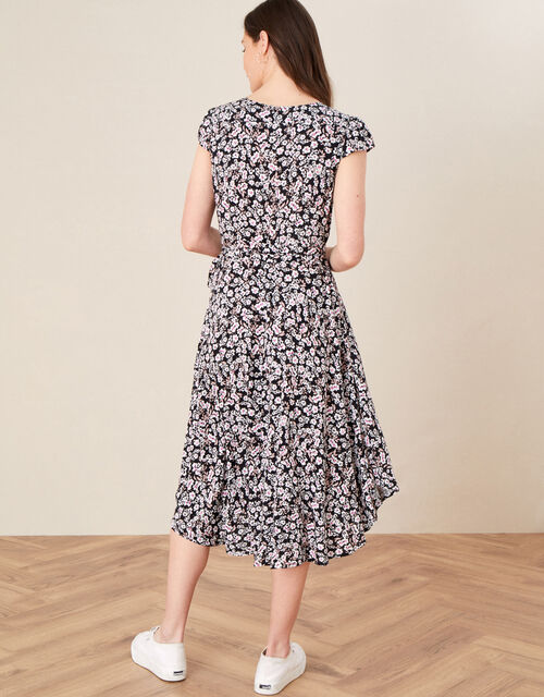 Floral Print Wrap Dress, Black (BLACK), large