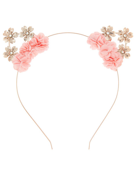 Shimmer Flower Cat Ears Headband , , large