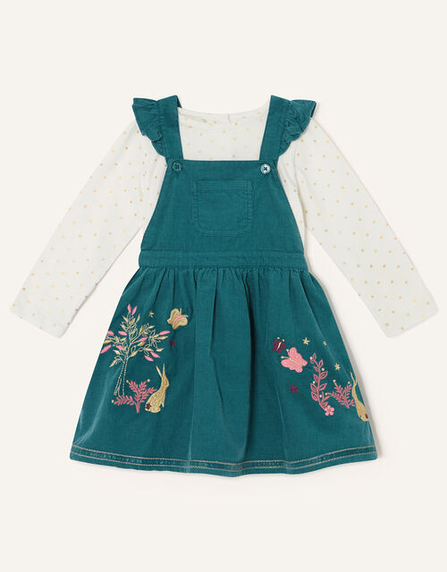 Baby Pinny Dress and Top Set, Teal (TEAL), large