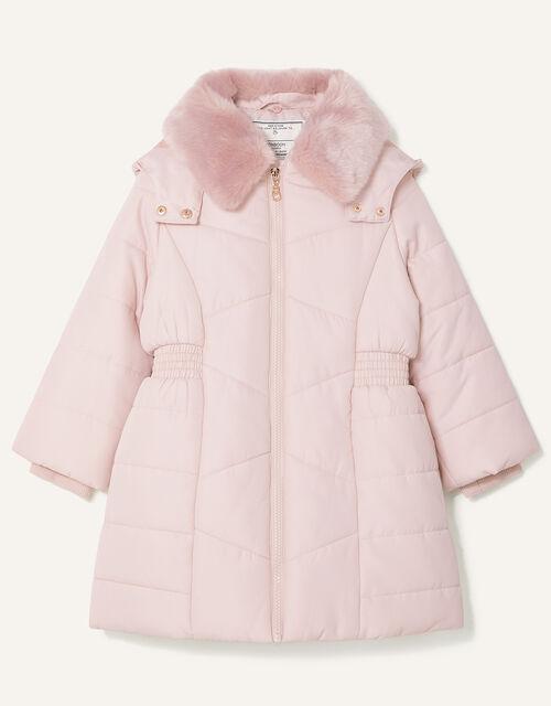 Shirred Waist Padded Coat, Pink (PALE PINK), large