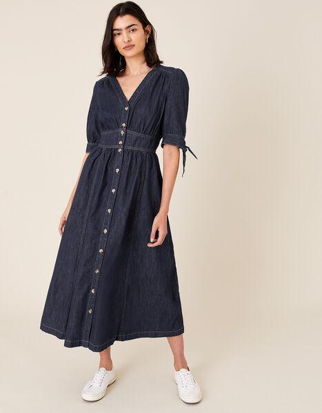 Dolly Denim Dress in Organic Cotton Blue, Blue (INDIGO), large
