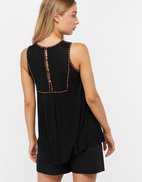 Marnie Embroidered Jersey Sleeveless Top, Black, large