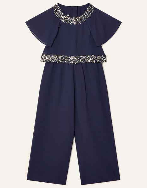 Meghan Sequin Jumpsuit Blue, Blue (NAVY), large