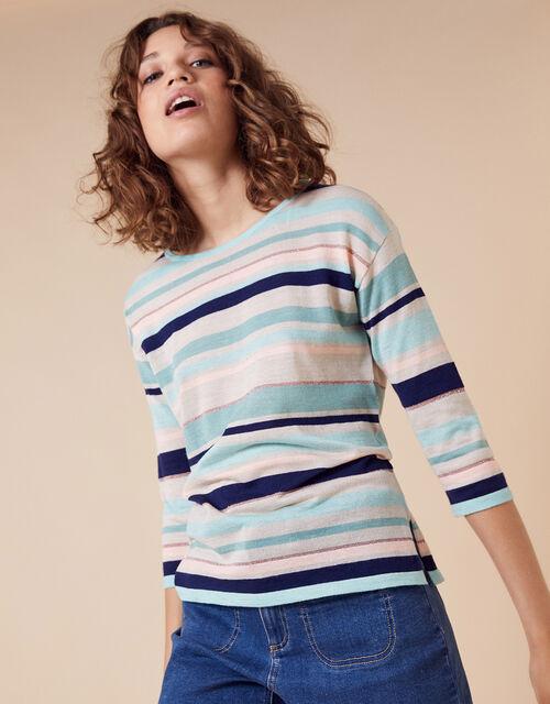 Stripe Lightweight Jumper in Linen Blend, Blue (AQUA), large
