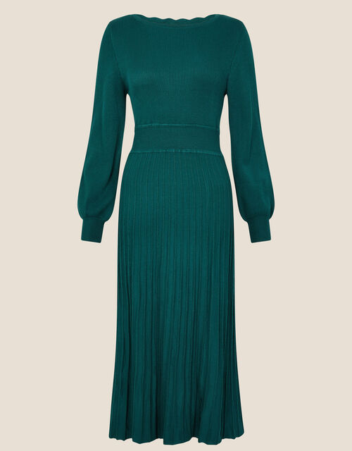 Scallop Neck Dress, Teal (TEAL), large