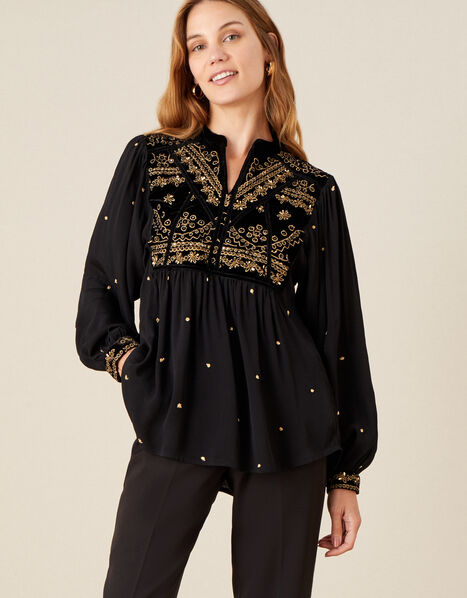 Hally Embroidered Velvet Trim Top with Sustainable Viscose  Black, Black (BLACK), large