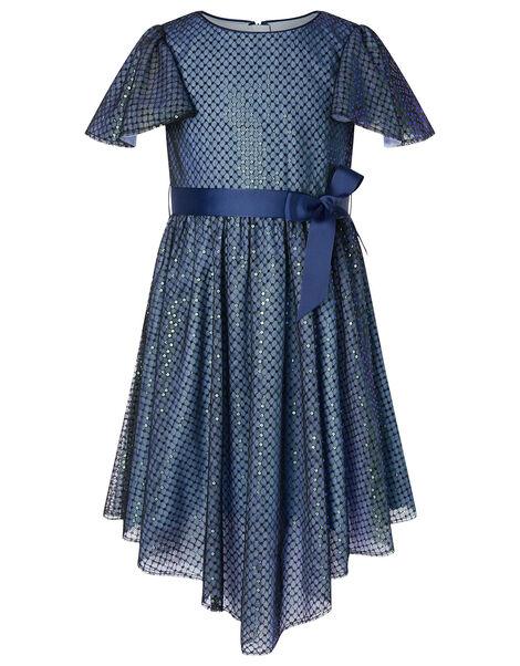 Sequin Flutter Sleeve Dress Blue, Blue (NAVY), large
