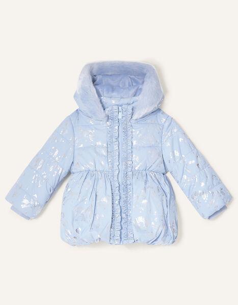 Baby Foil Unicorn Padded Coat Blue, Blue (PALE BLUE), large