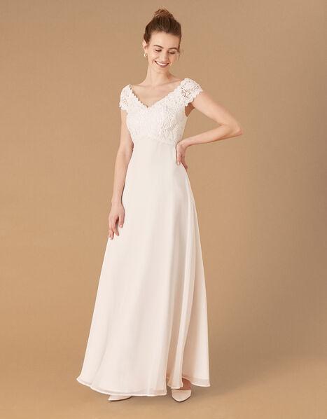 Sloane Lace Bodice Bardot Bridal Dress Ivory, Ivory (IVORY), large