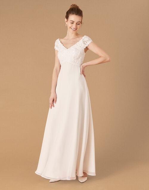 Sloane Lace Bodice Bardot Bridal Dress, Ivory (IVORY), large