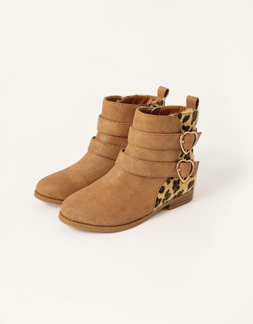 Leopard Panel Heart Buckle Boots, Tan (TAN), large