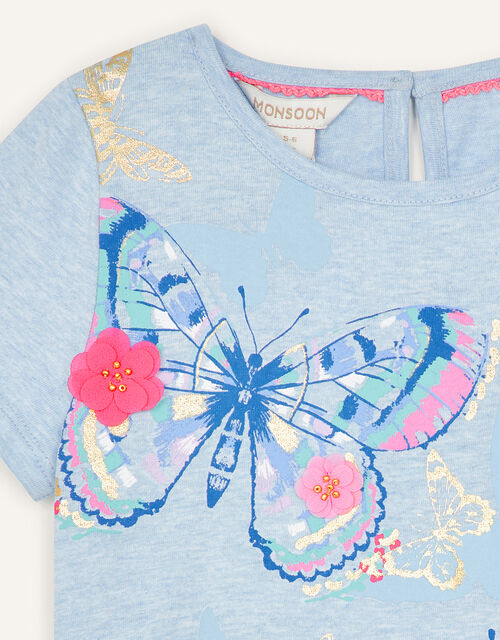 Butterfly T-Shirt in Organic Cotton, Blue (BLUE), large
