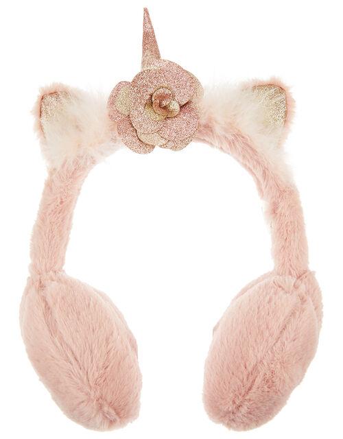 Glitter Fluffy Unicorn Earmuffs, , large