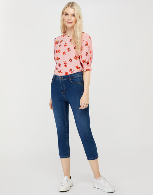 Betty Printed Short Sleeve Blouse, Pink (BLUSH), large