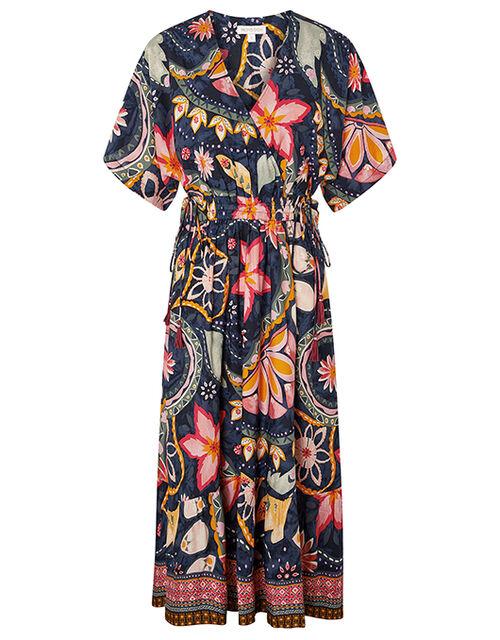 Rhonda Floral Midi Dress in LENZING™ ECOVERO™, Blue (NAVY), large