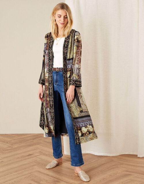 Demi Printed Long Kimono, Camel (BEIGE), large