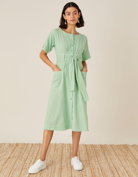 Crosshatch Midi Dress in Pure Cotton Green, Green (GREEN), large