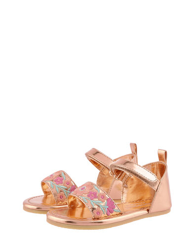 Baby Embroidered Walker Sandals Gold, Gold (ROSE GOLD), large