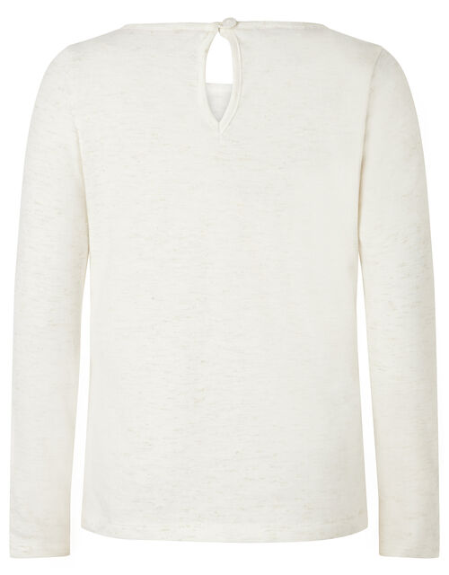 Owl Sequin Long Sleeve Top, Ivory (IVORY), large