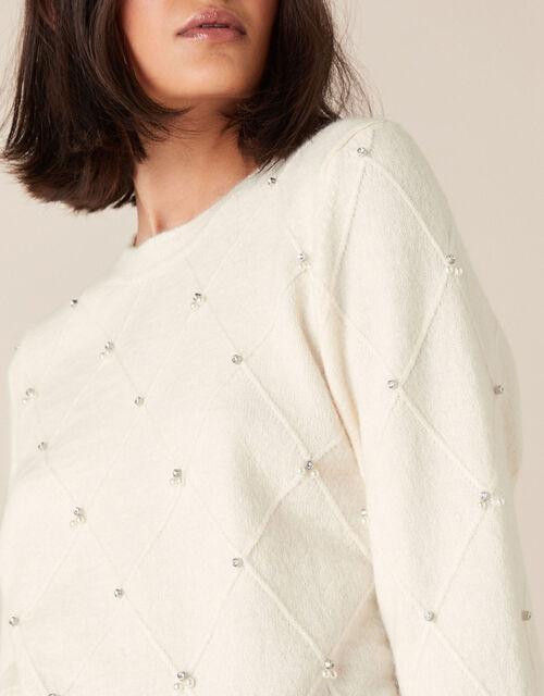 Embellished Diamond Stitch Knit Jumper, Ivory (IVORY), large