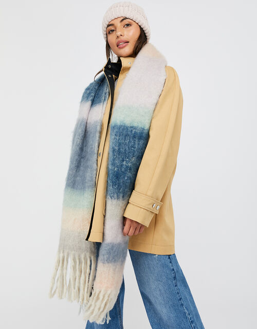 Pia Soft Stripe Blanket Scarf, , large