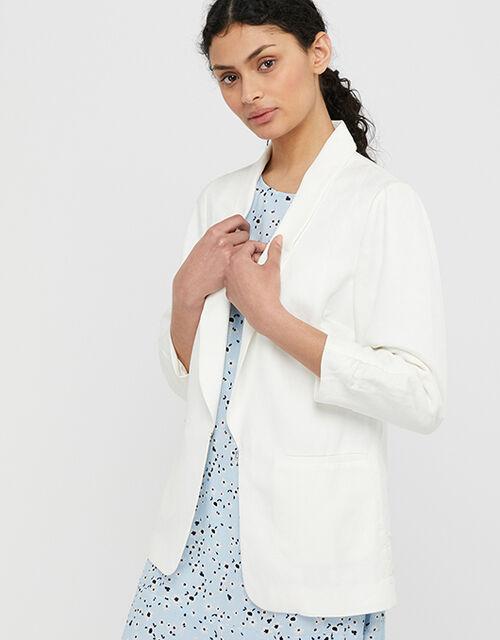 Marsha Blazer in Linen Blend, Ivory (IVORY), large