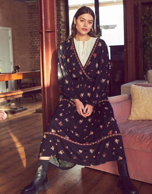 Embroidered Trim Floral Tiered Dress, Black (BLACK), large
