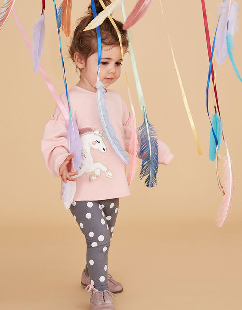Baby Unicorn Sweatshirt and Leggings Set in Organic Cotton, Pink (PINK), large
