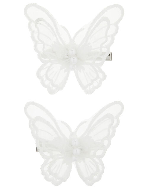 Embroidered Butterfly Hair Clips, , large