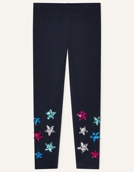 Sequin Star Leggings Blue, Blue (NAVY), large