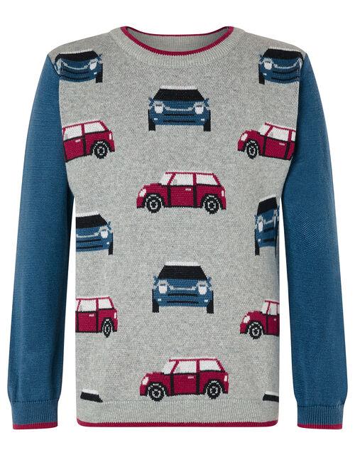 Car Knit Jumper, Grey (GREY), large