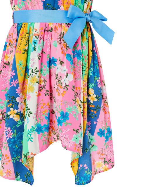 Floral Stripe Hanky Hem Dress, Multi (MULTI), large