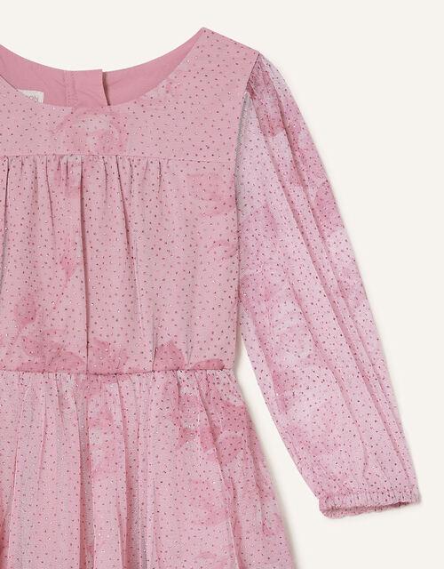 Lara Rose Print Long Sleeve Dress, Pink (PINK), large