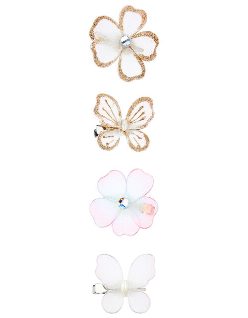 Glitter Flower and Butterfly Hair Clip Set, , large