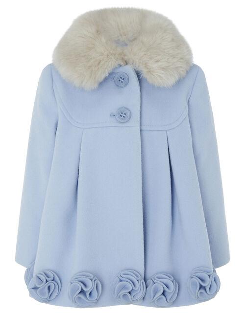 Baby Blue Rose Applique Coat, Blue (PALE BLUE), large