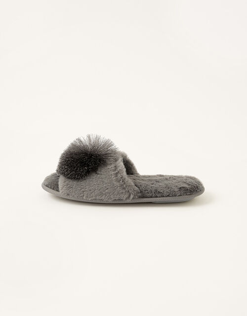 Faux Fur Pom-Pom Slippers, Grey (CHARCOAL), large