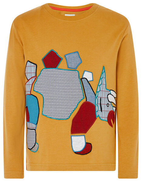 Dinosaur Long-Sleeve T-shirt Yellow, Yellow (MUSTARD), large