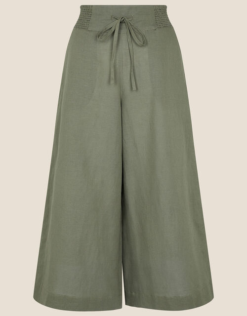 Drawstring Culottes in Linen Blend, Green (KHAKI), large