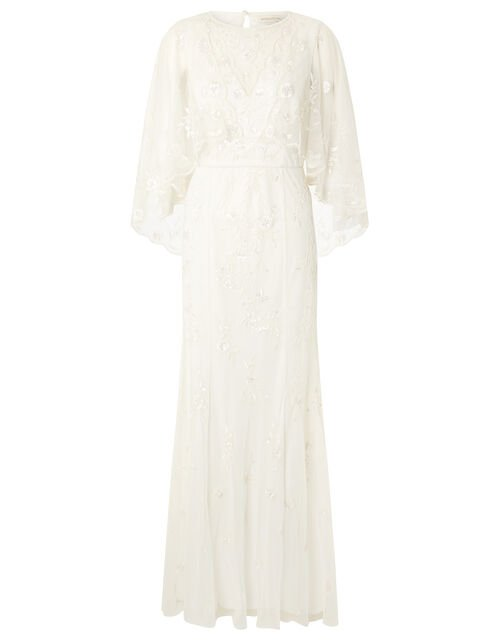 Zoey Floral Cape Bridal Dress, Ivory (IVORY), large