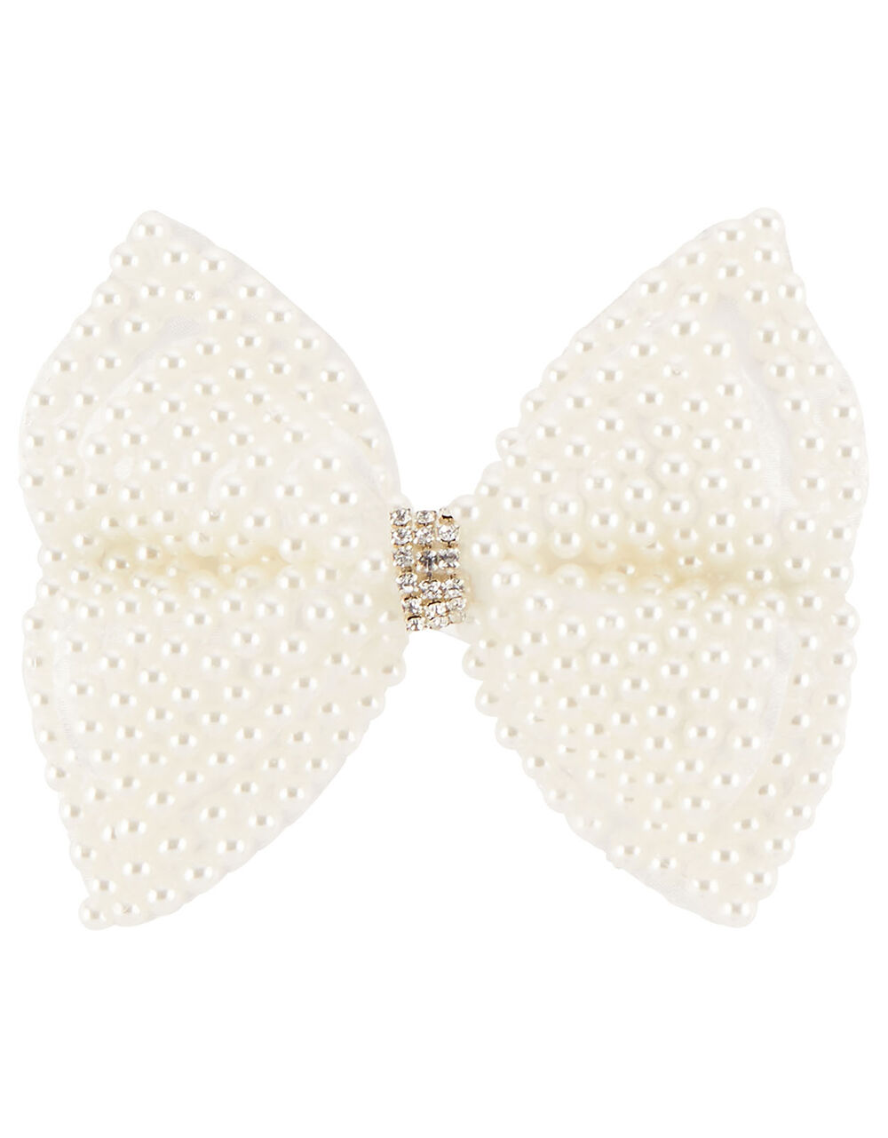 Large Pearl Diamante Bow Hair Clip , , large