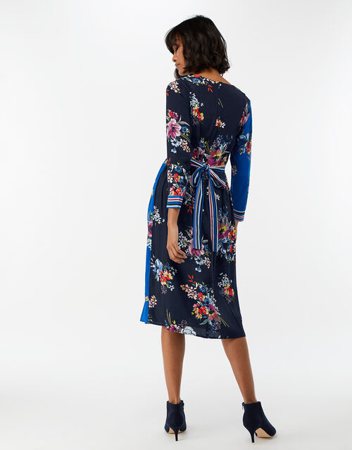 Delilah Floral Wrap Midi Dress, Navy, large