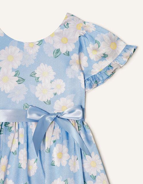 Daisy Print Satin Dress , Blue (BLUE), large