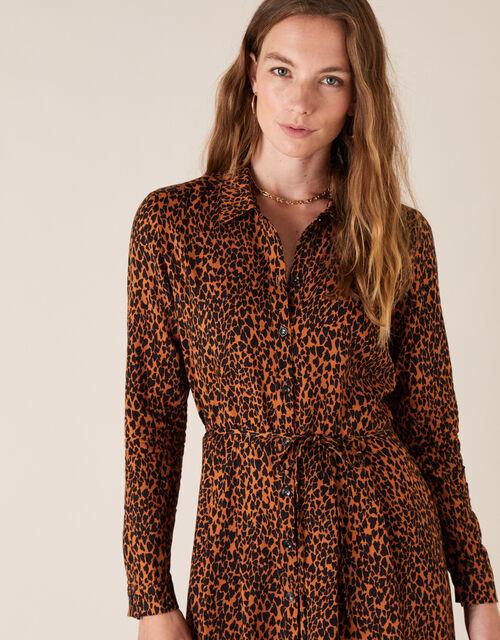 Animal Heart Print Shirt Dress, Black (BLACK), large