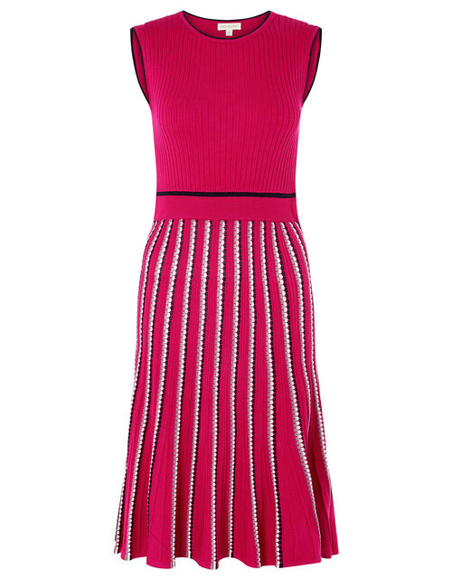 Mimi Ribbed Knit Sleeveless Dress, Pink (PINK), large