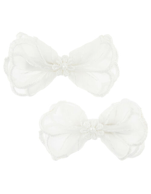 Lara Lace Bow Hair Clips, , large
